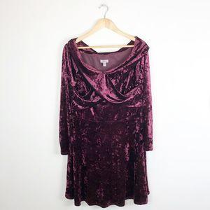 Chelsea28 Crushed Velvet Long Sleeve Dress